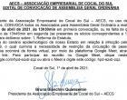 EDITAL DE CONVOCAÇÃO DE ASSEMBLÉIA GERAL ORDINÁRIA DA ASSOCIAÇÃO EMPRESARIAL DE COCAL DO SUL - AECS