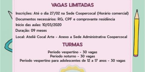 Estão abertas as INSCRIÇÕES para o curso MULHERES ARTESÃS da COOPERCOCAL