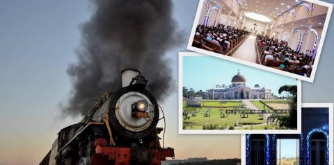 Devotos viajam de trem até santuário
