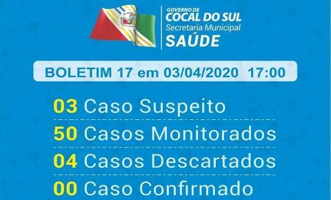 Evolução de casos suspeitos em Cocal do Sul está abaixo da média nacional.